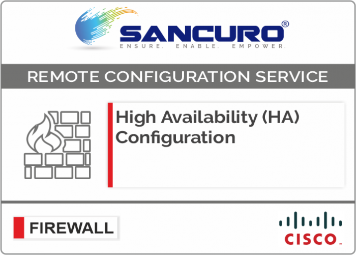 High Availability (HA) Configuration For CISCO Firewall