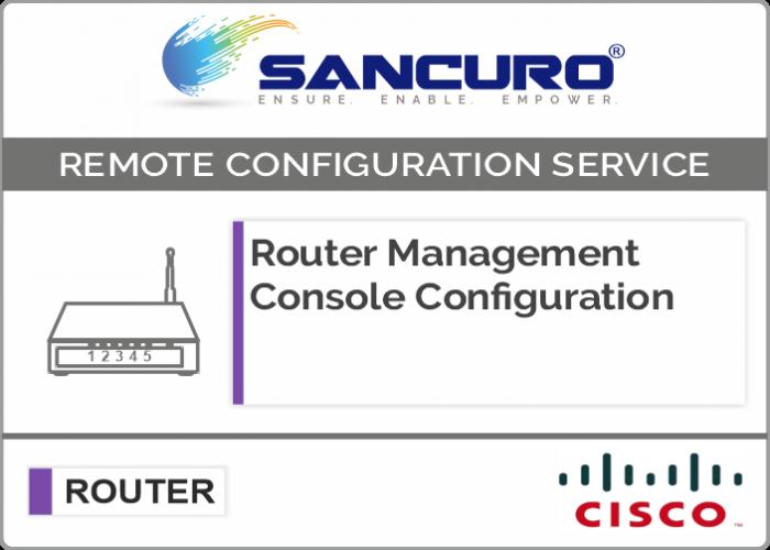 CISCO Router Management Console Configuration For Model Series C841, 880, 890, C1900