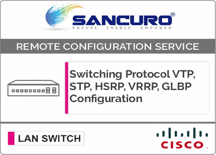 Switching Protocol VTP, STP, HSRP, VRRP, GLBP Configuration For CISCO L2 LAN Switch For Model Series SF300, SG300, SF350, SG350