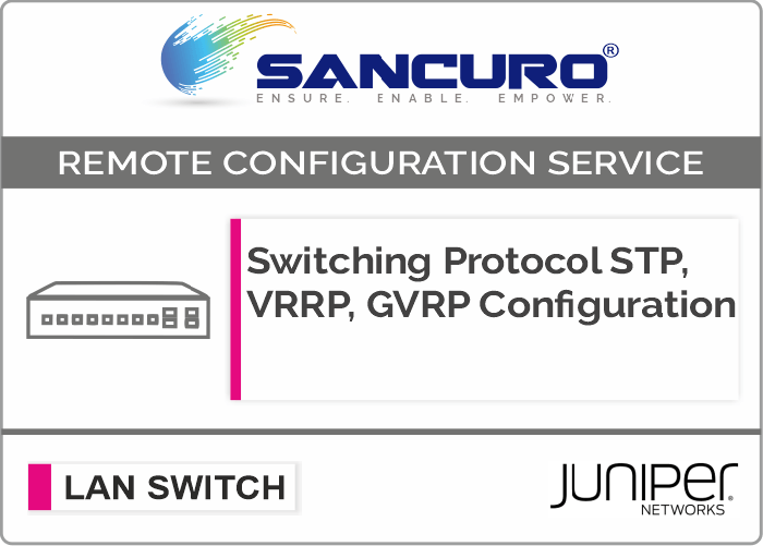 Switching Protocol STP, VRRP, GVRP Configuration For JUNIPER  L2 LAN Switch