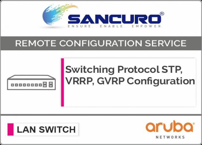 Switching Protocol STP, VRRP, GVRP Configuration For Aruba  L3 LAN Switch