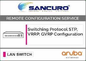 Switching Protocol STP, VRRP, GVRP Configuration For Aruba L2 LAN Switch